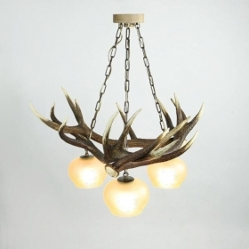 Chandelier with real deer antlers. Lighting. 3xE27 M: 75x75x80cm 151506