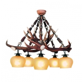 Chandelier with real deer antlers. Lighting. 5xE27 M: 70x70x80cm 152602