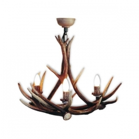 Chandelier with real deer antlers. Lighting. 3xE14 M: 60x60x70cm 1543