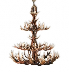 Chandelier with real deer antlers. Lighting. 24xE14 M: 155x155x190cm 1535