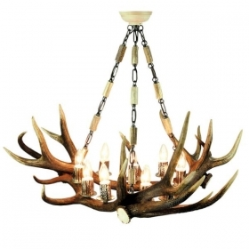 Chandelier with real deer antlers. Lighting. 9xE14 M: 90x90x75cm 1538