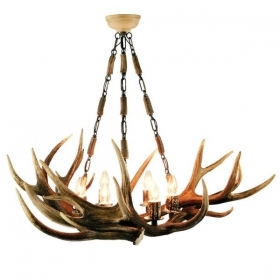 Chandelier with real deer antlers. Lighting. 6xE14 M: 90x90x75cm 153801