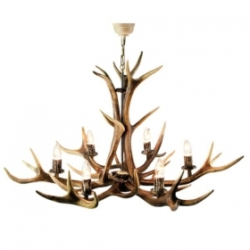 Chandelier with real deer antlers. Lighting. 6xE14 M: 95x95x90cm 1542
