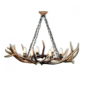 Chandelier with real deer antlers. Lighting. 6xE14 M: 100x60x70cm 1565