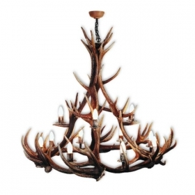 Chandelier with real deer antlers. Lighting. 12xE14 M: 130x130x140cm 1570