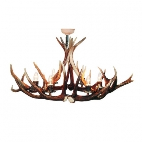 Chandelier with real deer antlers. Lighting. 6xE14 M: 120x60x80cm 156801