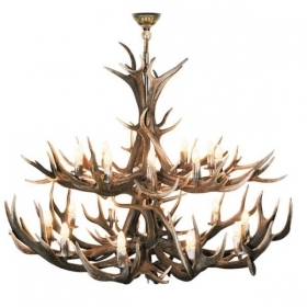 Chandelier with real deer antlers. Lighting. 20xE14 M: 130x130x130cm 153601