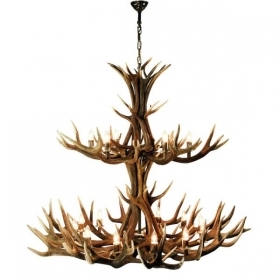 Chandelier with real deer antlers. Lighting. 18xE14 M: 145x145x150cm 153604