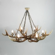 Chandelier with real deer antlers. Lighting. 6xE14 M: 100x100x80cm 154106