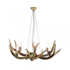 Chandelier with real deer antlers. Lighting. 6xE14 M: 90x90x80cm 154205