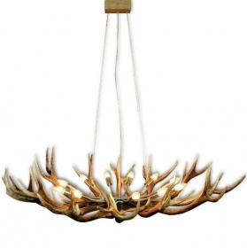 Chandelier with real deer antlers. Lighting. 12xE14 M: 130x100x90cm 15780101