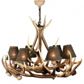 Chandelier with real deer antlers. Lighting. 6xE14 M: 80x80x75cm 154306