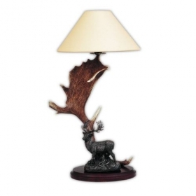 Lamp with real fallow deer antlers with statue. NO Lampshade. 159611