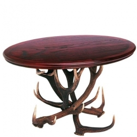 Table with real red deer antlers. 80x80cm x H 57cm - 116604