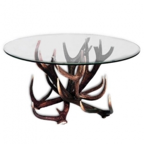 Table with real red deer antlers. 110x70cm x H 55cm - 116610