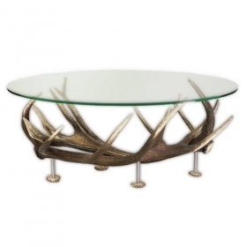 Table with real red deer antlers. 110x70cm x H 46cm - 11661101