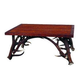 Table with real red deer antlers. 105x70cm x H 50cm - 116613
