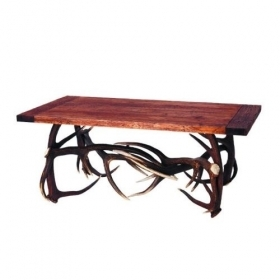 Table with real red deer antlers. 120x65cm x H 50cm - 116614