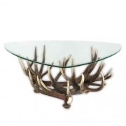 Table with real red deer antlers. 110x110cm x H 45cm - 116621
