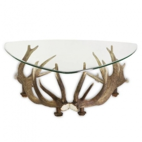 Table with real red deer antlers. 110x110cm x H 45cm - 1166221