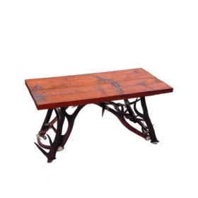 Table with real red deer antlers. 100x55cm x H 50cm - 116623