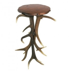 Table with real red deer antlers. 45x45cm x H 72cm - 116616