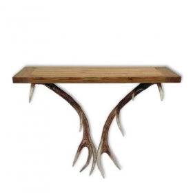 Table with real red deer antle