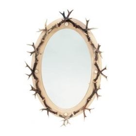 Mirror with real roedeer antle