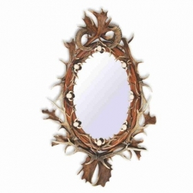 Mirror with real deer antlers, fallow deer, roedeer, mouflon. M: 180x130cm 118806