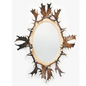 Mirror with real fallow deer antlers. M: 150x120cm 118807