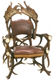 Armchair with real deer and fa