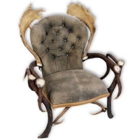 Armchair with real deer and fallow