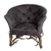 Armchair with real deer antlers. M: 90x75cm x H 85cm 111110