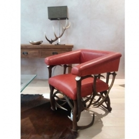Armchair with real deer antler