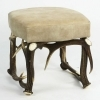 Tabouret bench with real deer antlers. M: 42x42cm x H 45cm 115521