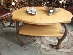 Table with real red deer antlers. 95x65cm x H 57cm - 116601
