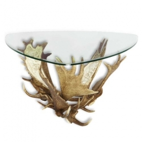 Table with real fallow deer antlers. 95x95cm x H 47cm - 116632