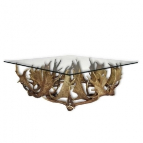Table with real fallow deer antlers. 105x105cm x H 45cm - 116619
