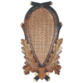 Wooden shield for deer trophy.
